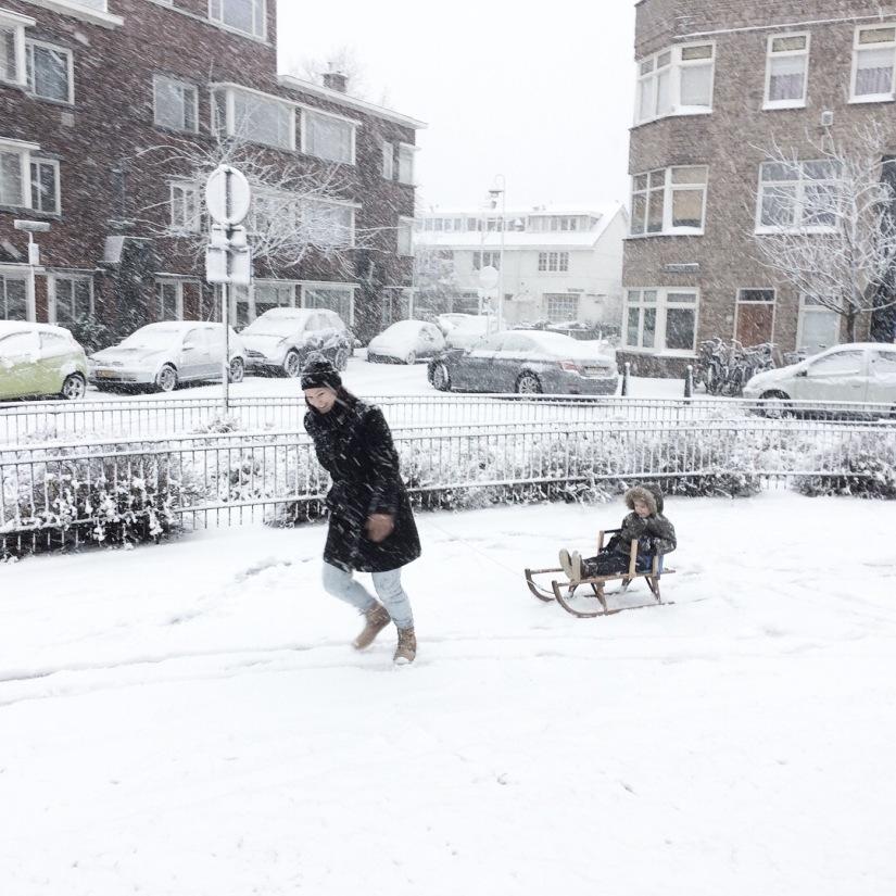 Sneeuwpret in Den Haag